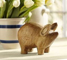 Can't decide why I love this so much. He's adorable.  Wood Pig Object #potterybarn