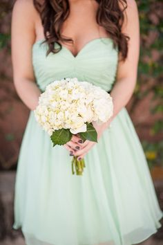 Mint green bridesmaids dresses with simple white bouquet :)