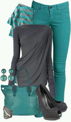 Teal and black. <3