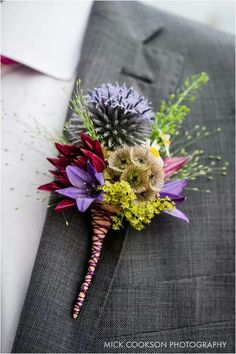 """Love this boutonniere - the type of flowers, the colors, the size. I don't like the way the stems are """"sewn"""" together. I prefer the string wrapped in a bundle, with the stems sticking out the bottom. Prom Flowers, Bridesmaid Flowers, Bridal Flowers, Bracelet Corsage, Corsage Wedding, Wedding Bouquets, Wedding Buttonholes, Button Holes Wedding, Groom And Groomsmen"""