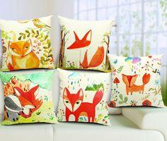 Herbst - Füchse auf Kissenbezüge malen. Das sieht nicht nur super, sondern auch sehr kuschelig aus!