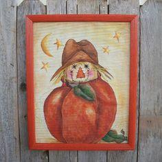 Handpainted Halloween Scarecrow Pumpkin. Moon. Stars. Rustic. HAB Classic Halloween Art Event
