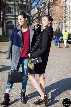 Xiao Wen Ju and Chiharu Okunugi Street Style Street Fashion Streetsnaps by STYLEDUMONDE Street Style Fashion Blog