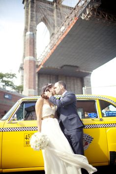 This adorable couple actually DID get married under the Brooklyn Bridge! Read their cute story on http://www.StyleMePretty.com/2014/01/15/brooklyn-bridge-park-wedding/ Photography: Weddings By Two | @Sarah Seven gown