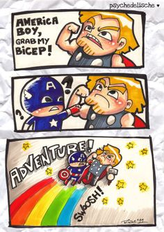Grab My Bicep! Could be one of the greatest openings for cartoon. Captain America doesn't seem to like it much though. (Image Source: animae-rian)