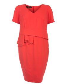 Sallie Sahne Shift dress with flounce detailing Coral-Orange Plus size
