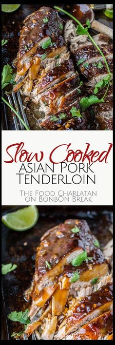 An easy and healthy slow cooker pork tenderloin recipe with Asian vibes and a ginger glaze that gets caramelized under the broiler. Bring on the crusty topping.