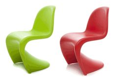 """Verner Panton Junior Chair. """"Most people spend their lives living in dreary, beige conformity, mortally afraid of using color. The main purpose of my work is to provoke people into using their imagination and make their surroundings more exciting."""" -Verner Panton"""