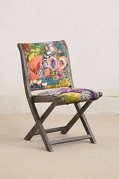 Anthropologie - Overdyed Terai Folding Chair 4 of these one side of the table, bench on the other