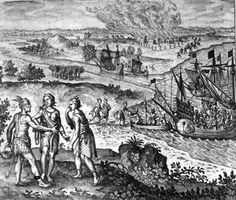 A 17th-century engraving depicting the  abduction of Pocahontas.
