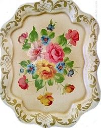 Shabby Chic Vintage French Vanilla Chippendale Hand Painted Pink Roses Tole Tray-yellow, floral, gilt, toleware, metal, handpainted,gold, gilt, scrollwork, French, latticework,flourishes,elegant, decorative,