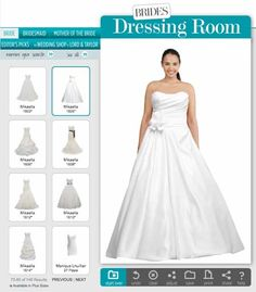 """The tool is super easy to use—simply upload a photo of yourself (preferably wearing something strapless and form-fitting) to the BRIDES Dressing Room. Next, adjust your body shape using the teal-colored """"fit points"""" that appear onscreen. And... that's it! You're ready to try on dresses."""