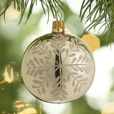 Graphic Snowflake Gold Ball Ornament  | Crate and Barrel