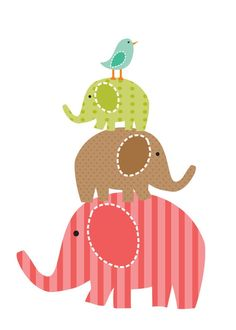 pink/brown & green : Idea for nursery wall art. applique elephants/birds then do embroidery writing. Elephants would look cute holding a bunch of balloons. Elephant Family, Elephant Love, Elephant Art, Applique Patterns, Quilt Patterns, Cute Clipart, Playroom Decor, Quilting, Cute Images