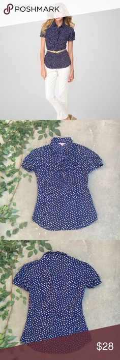 Lily Pulitzer Noella Polka Dot Top Navy blue polkadot top. Folded collar, with ruffled bust, and cap sleeves. Lilly Pulitzer Tops Blouses