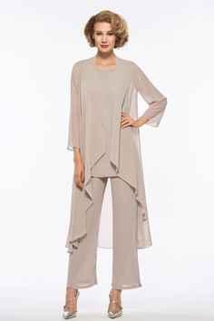 Loose 3 Pieces Mother of the Bride Pantsuits Mother Of The Groom Trouser Suits, Mother Of The Bride Suits, Mother Of The Bride Dresses Long Sleeve, Mothers Dresses, Dresses With Sleeves, Mob Dresses, Wedding Dress Chiffon, Wedding Pantsuit, Wedding Dresses