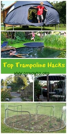 Top Trampoline Hacks To Repurpose Into Something New <br> Top Trampoline Hacks To Re-purpose Into Something New for New Backyard Fun, Gardening, Chicken Run and More Projects You will Love. Trampolines, Recycled Trampoline, Trampoline Swing, Trampoline Ideas, Trampoline Parts, Sunken Trampoline, Backyard Playground, Backyard For Kids, Diy Chicken Coop
