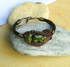 Viking knit bracelet with swarovski crystal