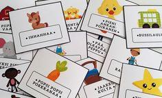 Tee oma laulupussi! Ilmaiset kortit ja ohjeet Music For Kids, Kids Songs, Vintage Swim, Nursery School, Cute Pattern, Literature, Preschool, Playing Cards, Language