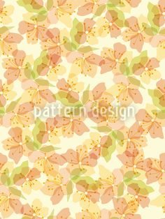 Golden Blossoms On The Veranda designed by Sabine Reinhart, vector download available on patterndesigns.com