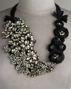 Vera Wang's asymmetrical bib necklaces are the perfect accessory to a simple strapless dress.