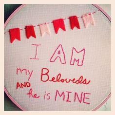 Valentine hoop art. Song of Solomon 6:3.