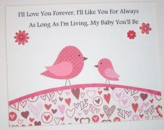 Childrens Art Decor, Baby Room Decor, Kids Wall Art, Verse, Girls, Birds, Pink, I'll Love You Forever, 8x10 Print