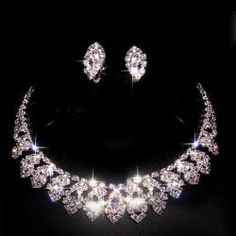 $9.69 Sweet Rhinestoned Waterdrop Embellished Necklace and Ear Clips For Bride ; Costume jewelry @Zorie Soberal