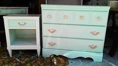 A custom chest of drawers and night stand I painted for a new client for her little girl.  Turquoise and pink, two of my favorite colors!  Shabby Chic, Distressed Furniture.