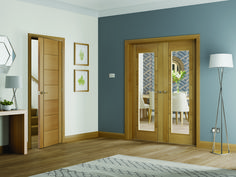 The Palermo Internal Oak Rebated Door Pair with Clear Glass offers a contemporary feel in your home.