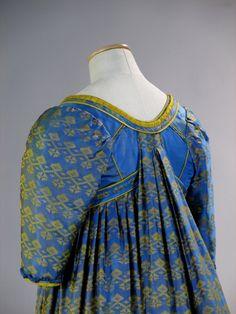 "Tirelli Costumi, tunic and silk overdress in ocher and blue tones designed by Maurizio Millenotti, made by Sartoria Tirelli and worn by Valeria Golino in ""Immortal Beloved"", Bernard Rose, 1994"