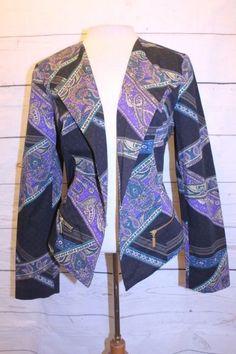 Chico's Coat 1 Purple Black Floral Paisley Stripe Long Sleeve Moto Jacket   #Chicos #MotorcycleJacket