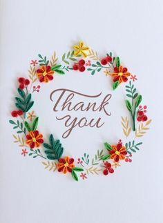 Thank You - Orange Floral Wreath