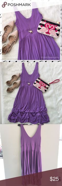 Topshop Purple Sundress with Tulip Ruffled Layer Purple sleeveless sundress from Topshop. Pull on style cotton dress with unique gathered layered ruffle bottom. Super soft and drapes just right. Perfect for a casual wedding guest or date night. Topshop Dresses Midi