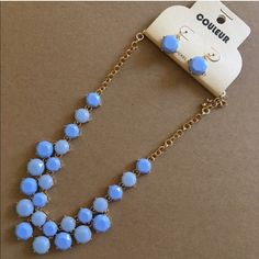 "Blue Bubble Statement Necklace Set This two tone sky blue bubble necklace comes with matching earrings. 16"" long with a extension. Gold tone only. 2 are for sale. The stones  have a faceted cut. One left ‼️ None Jewelry Necklaces"