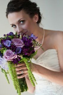 Blue Green Purple Bouquet Spring Summer Wedding Flowers Photos & Pictures - WeddingWire.com
