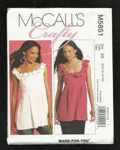 McCalls 5851 Crafty Tunics with Front Pleats by ThimbledFingerTips, $4.50