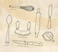 Kitchen Tools Drawings dinner-doodle-set-components-utensils-cooking-hand-drawn-design