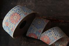 Cornflower / Blue Faded Red Floral Trim Ribbon by WomanShopsWorld, $3.95