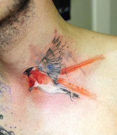 watercolor abstract bird tattoo