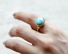 Turquoise Simple Band Ring / Natural Stone Brass Ring by 4xtyle