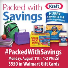 I want to help you SAVE MORE!!!  Join me at the #PackedWithSavings Twitter Party Aug. 11 1pm ET for $550 in prizes & high-value coupons!  RSVP HERE: http://freebies4mom.com/packedwithsavings #shop