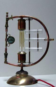 """Galvanic Impulse"" A unique copper and brass desk light. By STEAMPUNKOZ on Etsy"
