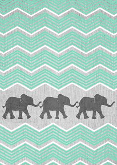 Three grey elephants with teal and white chevron on grey background...cute design
