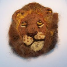 Lion Needle Felted Brooch