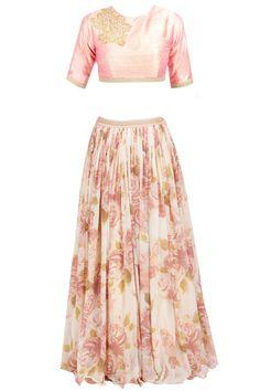- Floral pattern lehenga - golden chunni