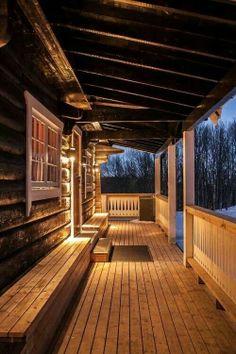 I just love porches Cabin Porches, Decks And Porches, Front Porches, Design Rustique, Pergola, Log Cabin Homes, Log Cabins, Little Cabin, Built In Bench