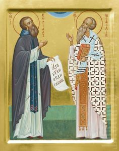 painted icon of st cyril and st methodius