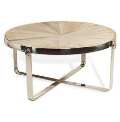 Zanuso Industrial Reclaimed Elm Stainless Steel Circular Coffee Table #industrial #loft #kathykuohome