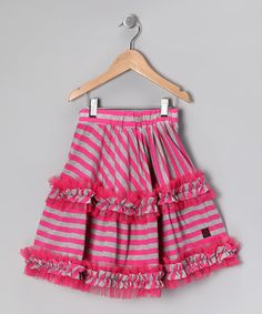 Take a look at this Raspberry Stripe Daniella Skirt - Toddler & Girls by KidCuteTure on #zulily today!